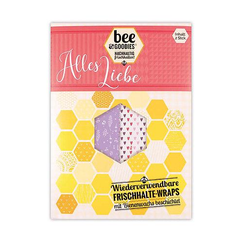 """Bee Goodies - Frischhalte Wraps 2er PACK """"ALLES LIEBE"""""""