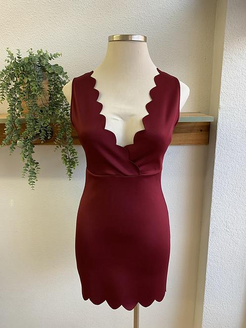Scalloped Rouge Dress