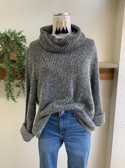 Grey Cowl-neck Sweater
