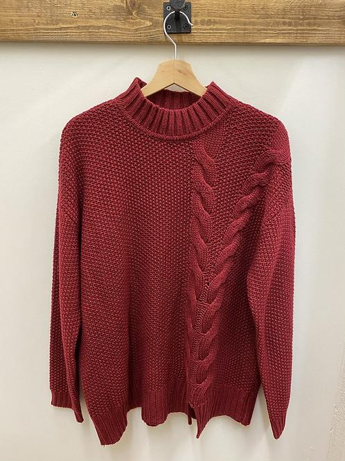 Red Mock Turtleneck Sweater