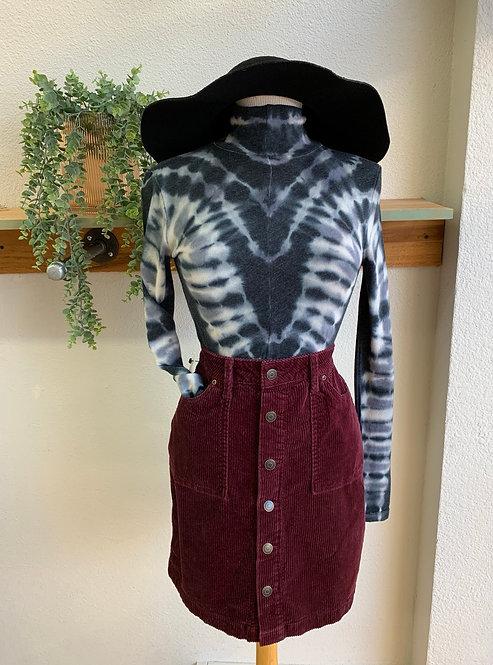 "Corduroy  Buttondown Skirt ""Wine"""