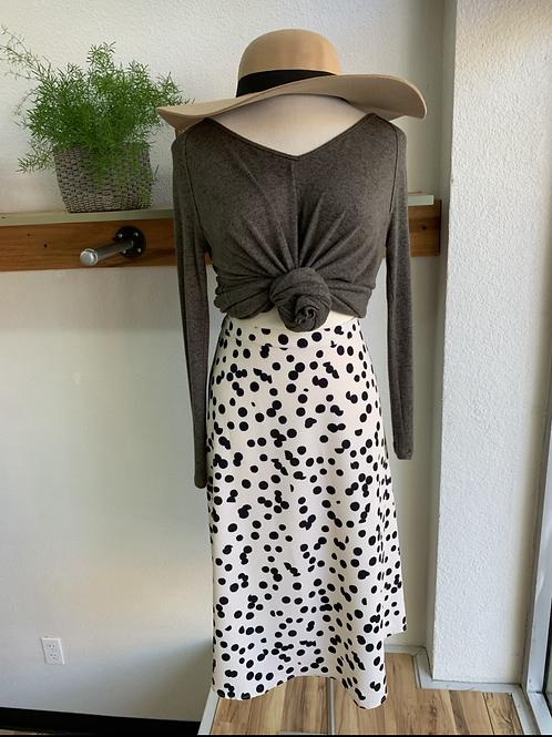 New T. Tahari Ink Dot Midi Skirt