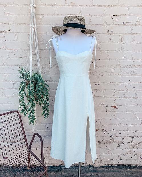 Kourt White Shoulder Tie Flax Dress