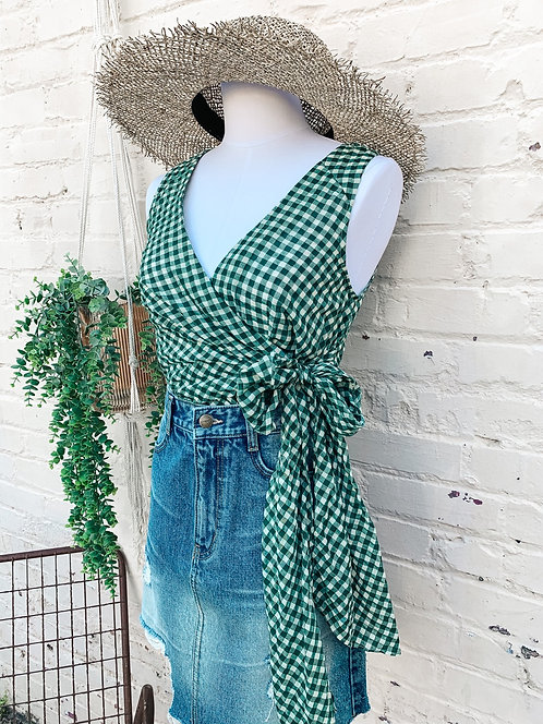 Anthropologie Green Gingham Wrap Style Top