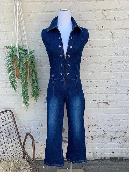 Vintage Retro Denim Jumpsuit