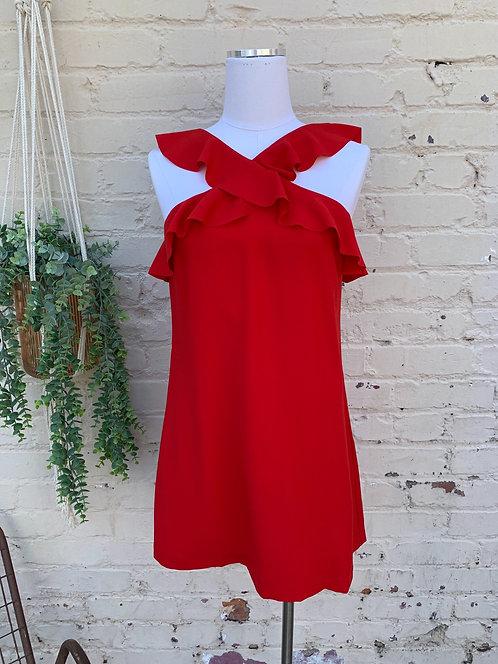 BCBG Red Ruffle Cocktail Dress