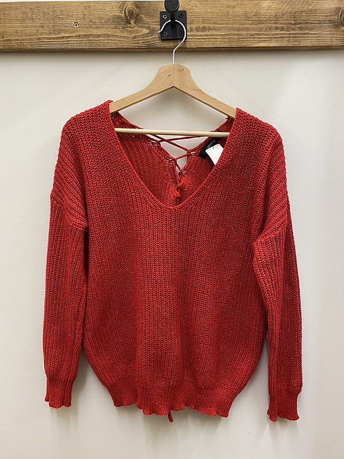 Red Lace Up Back Sweater