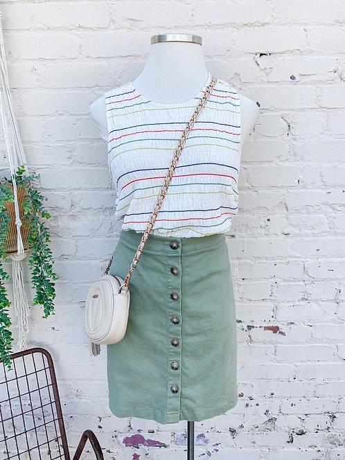 Sage Buttondown Spring Skirt