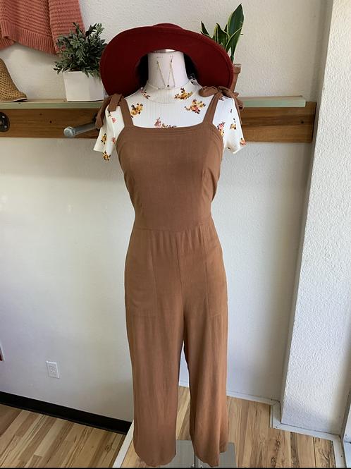 Terra-cotta Shoulder Tie Jumpsuit