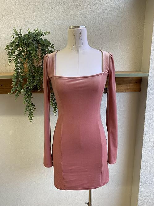 Velvet Rouched Sleeve Mini Dress