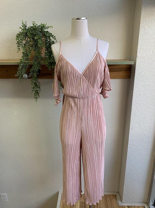 Pleated Satin Pink Jumpsuit
