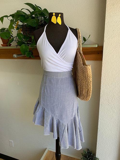Stripe + Ruffle Asymmetrical Skirt