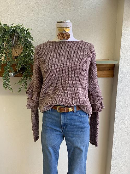 Plush Violet Ruffle Sleeve Sweater