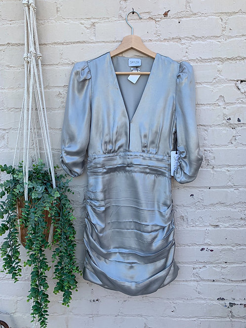 "Saylor ""Madonna"" Puff Sleeve  Silver Dress"