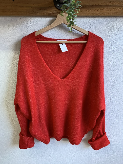 Cherry Red V Neck Sweater