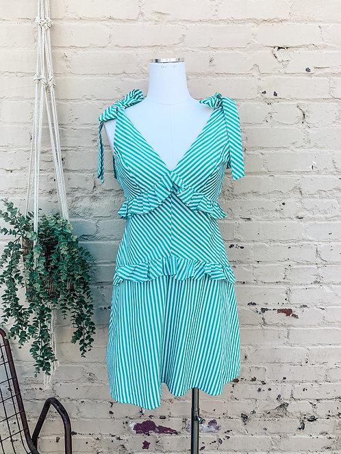BCBG Shoulder Tie + Ruffle Mini Dress