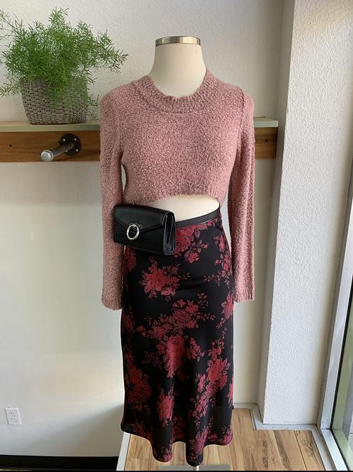 Satin + Floral Midi Slip Skirt