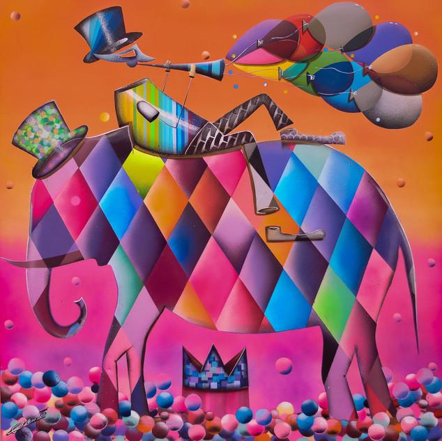 Dumbo Alma Colorida 100x100 Técnica Mista