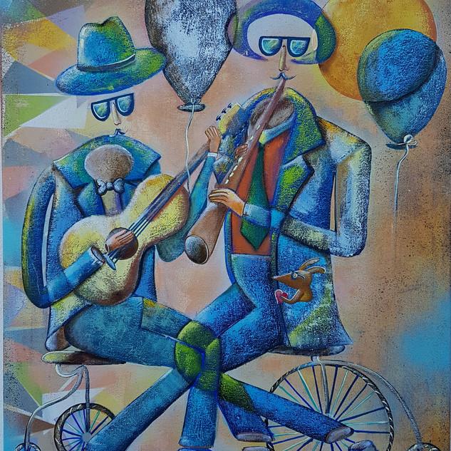 Flauta e Violão 60x50 Técnica Mista