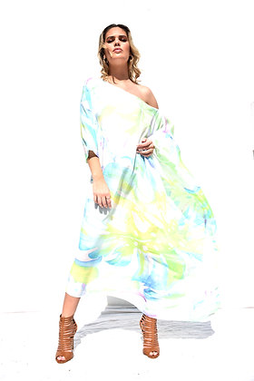ONE SHOULDER SILK KAFTAN