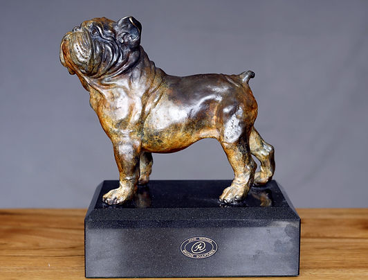bulldog bronze sculpture on marble by Au
