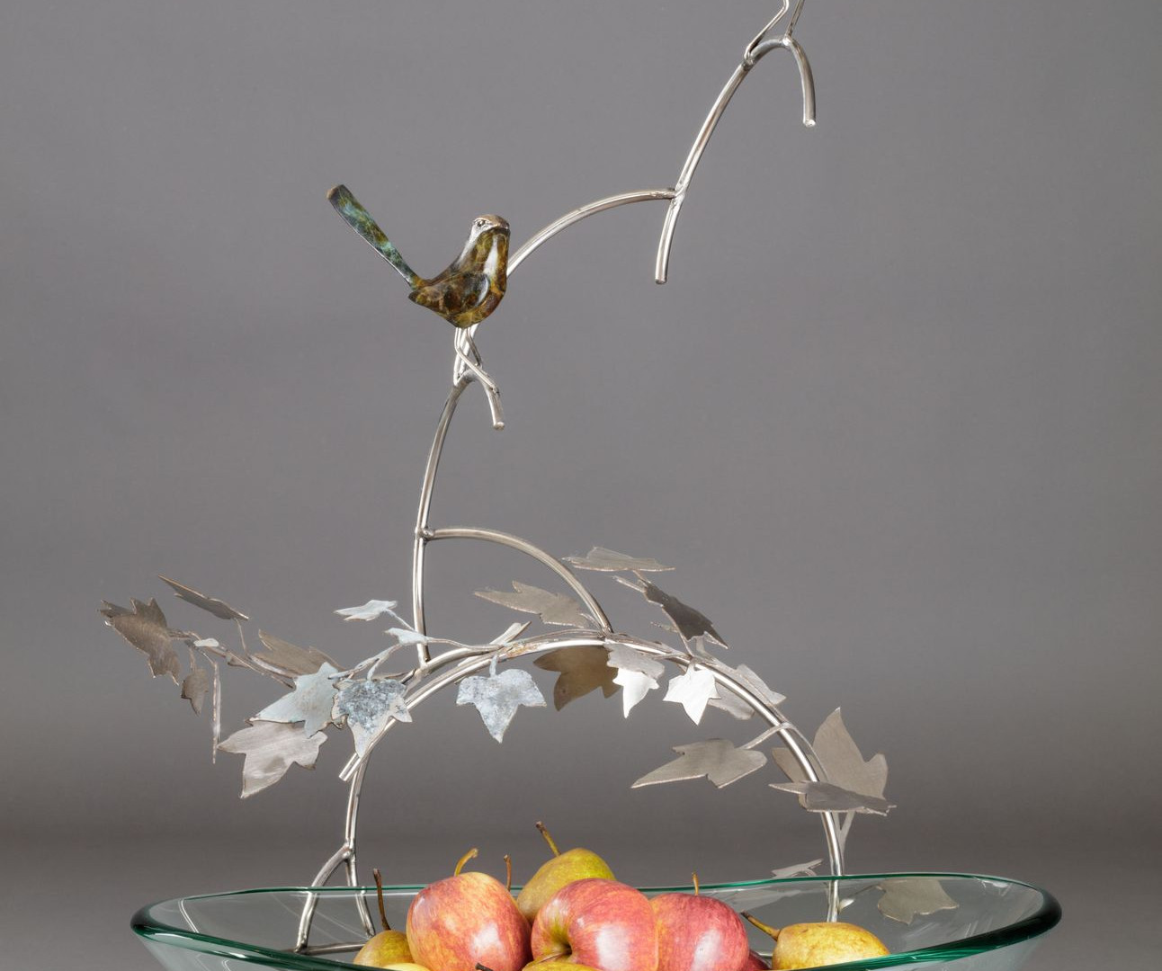 Fruit Bowl with bronze wrens sculpture