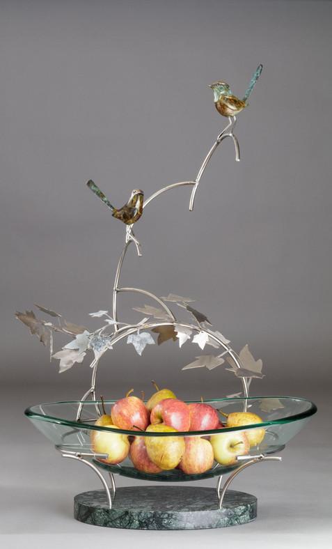 Fruit Bowl with bronze wrens sculpture