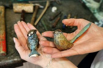 Wrens Birds in Bronze Sculpture