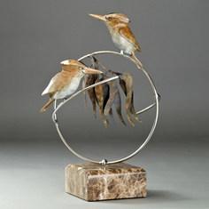 Kookaburras on Branch Bronze Sculpture by Australian Artist Jake Mikoda