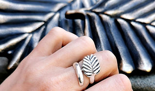 fagus leaf sterling silver ring made in