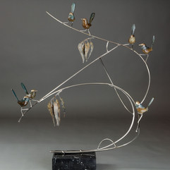 """Wrens on a Branch """"A Little Bit Too Late"""" Bronze Sculpture by Jake Mikoda"""