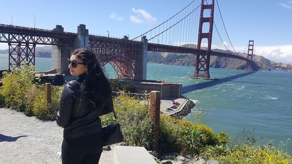 At the Golden Gate Bridge celebrating a successful show