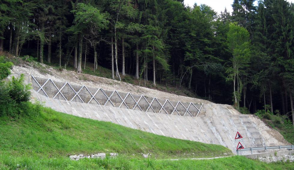 Consolidamento della scarpata a mezzo di barriere per contenimento terreni - Lamon (BL), 2014