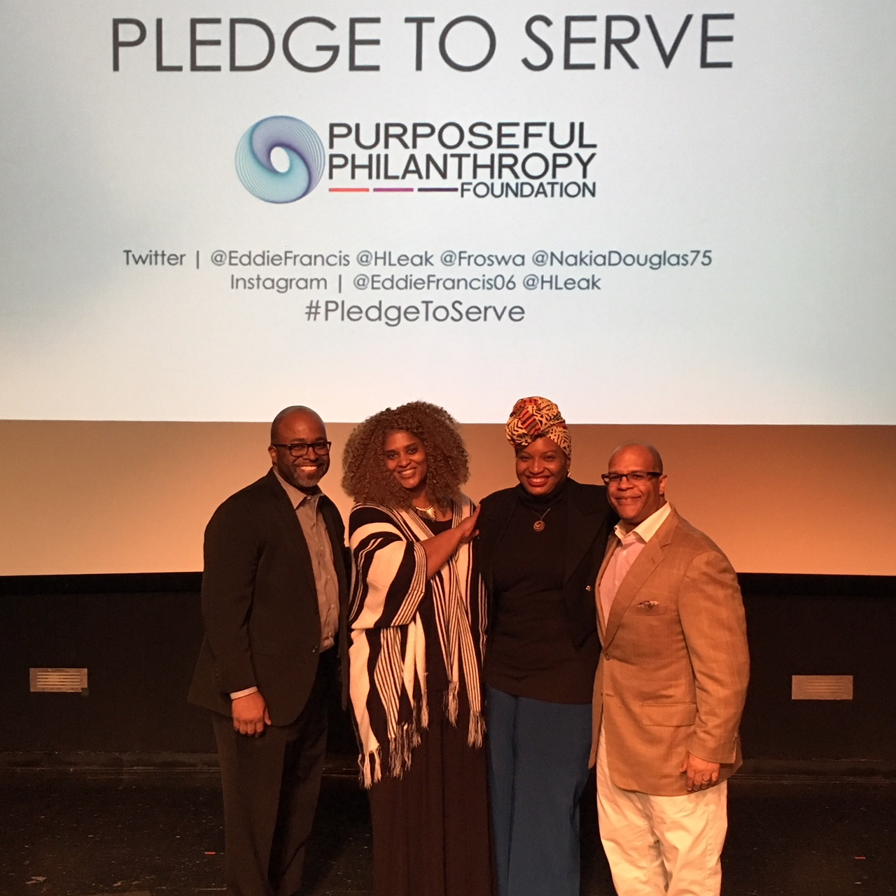 Pledge to Serve speakers Nakia Douglas, Froswa' Booker-Drew, Halima Leak Francis, and Eddie Francis