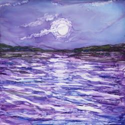 Purple moonscape on tile