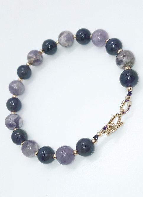 Sage and Dark Amethyst Bracelet