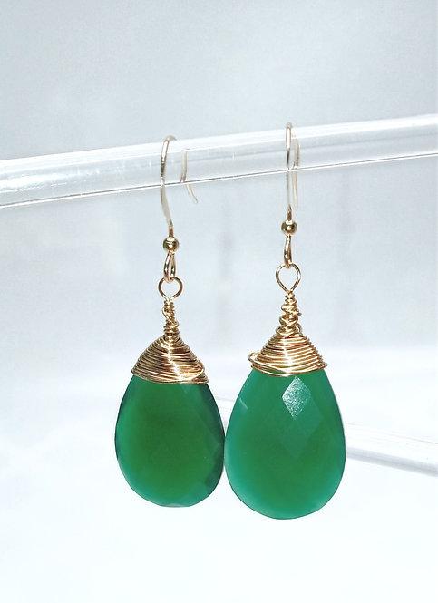 Green Onyx Faceted Pear Drop Earrings