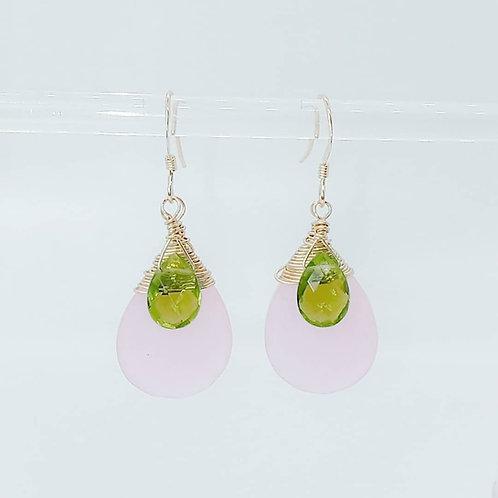 Natural Rose Quartz and Natural Olive-Green Peridot Gemstones Earrings