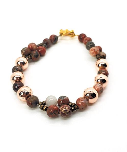 Hematite and Jasper Gemstone Bracelet