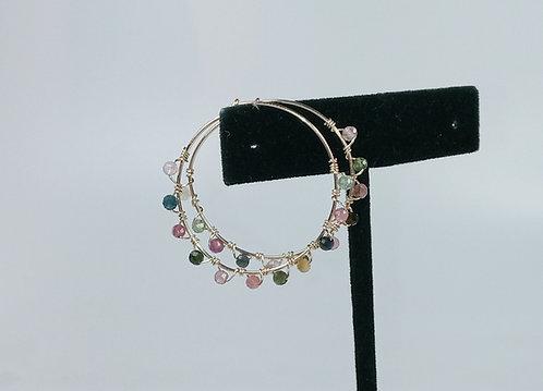 Tourmaline 24-karat Gold Filled Hoop Earrings