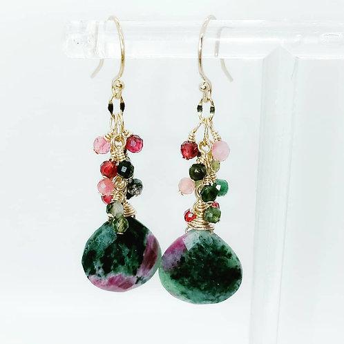 Simi Precious Ruby Zoisite and AAA Tourmaline Gemstone Earrings