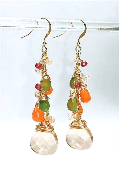 Semiprecious Gold, Orange, and Green Gemstone Earrings