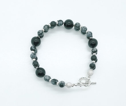 Snowflake Obsidian and Black Onyx Bracelet