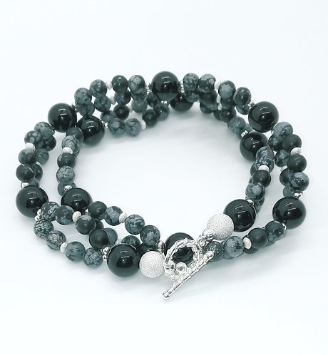 Snowflake Obsidian and Black Onyx Necklace