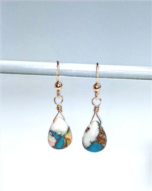 AAA Pink Opal Copper Turquoise Earrings