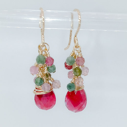 Natural Ruby and Tourmaline Earrings
