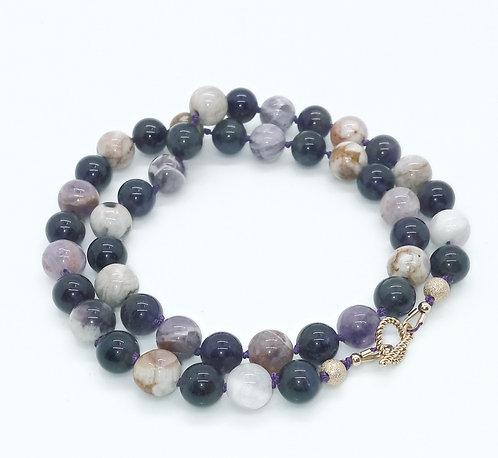 Sage and Dark Amethyst Necklace