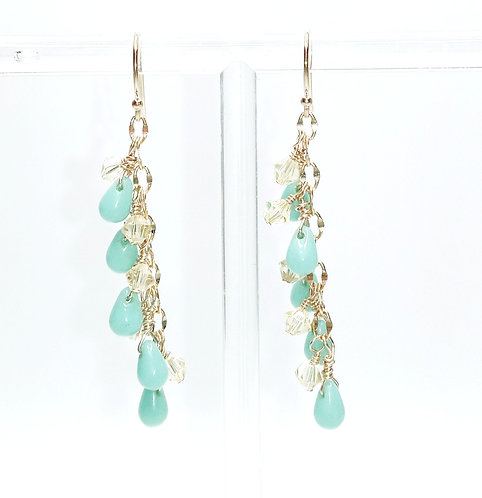 Turquoise Czech Glass and Citrine Swarovski Crystal Earrings