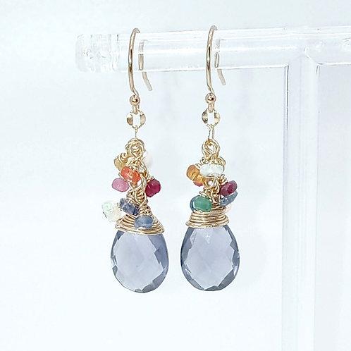 Multi Sapphire Gemstone and Amethyst Quartz Earrings