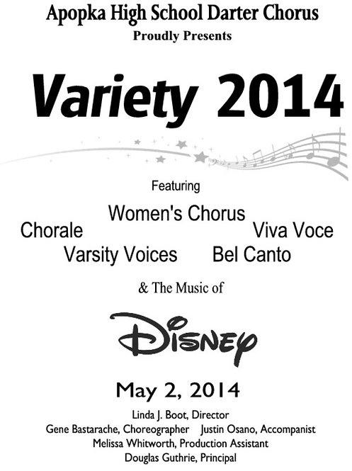 Apopka High School Chorus Variety Show - 5/2/14